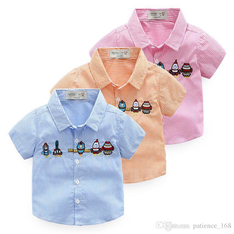 boys shirt 2018 NEW style summer Kids Cotton short Sleeve All-match cartoon rocket plane embroidery stripe shirt boy summer shirt 3 colors