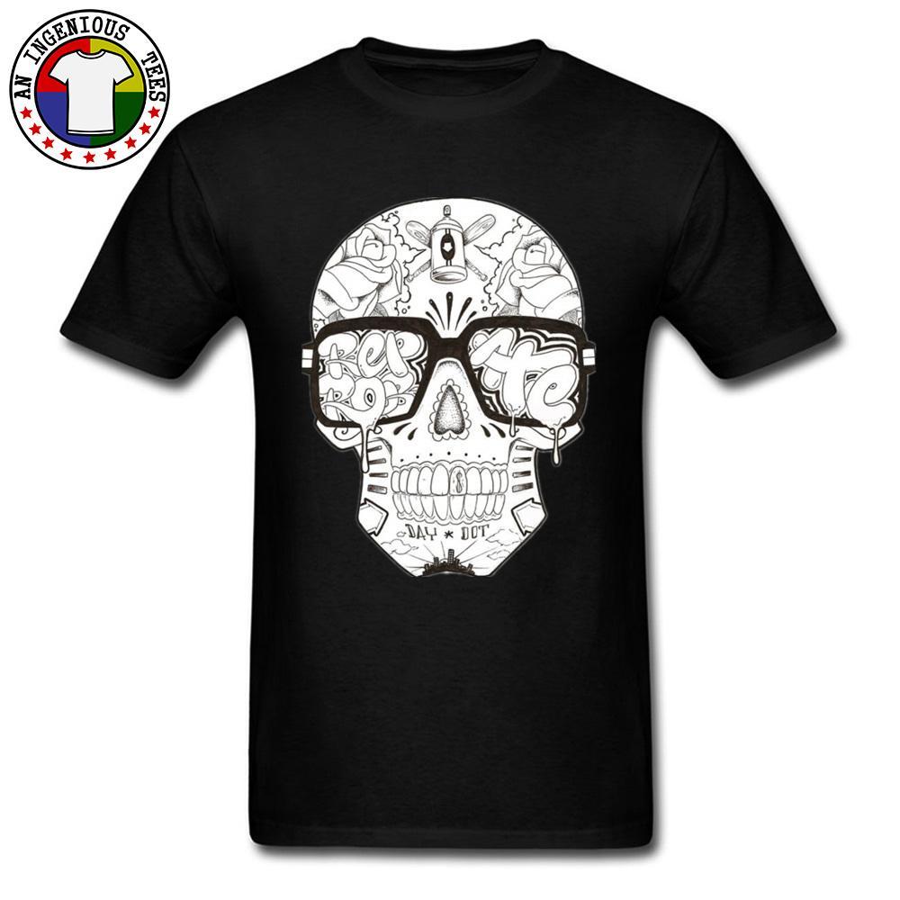 Männer T-Shirts Schädel gedruckt auf Oberseiten Shirt Swag Hip-Hop neue Art Faddish T-Shirt für Männer plus Größe 3XL beiläufiges freies Verschiffen