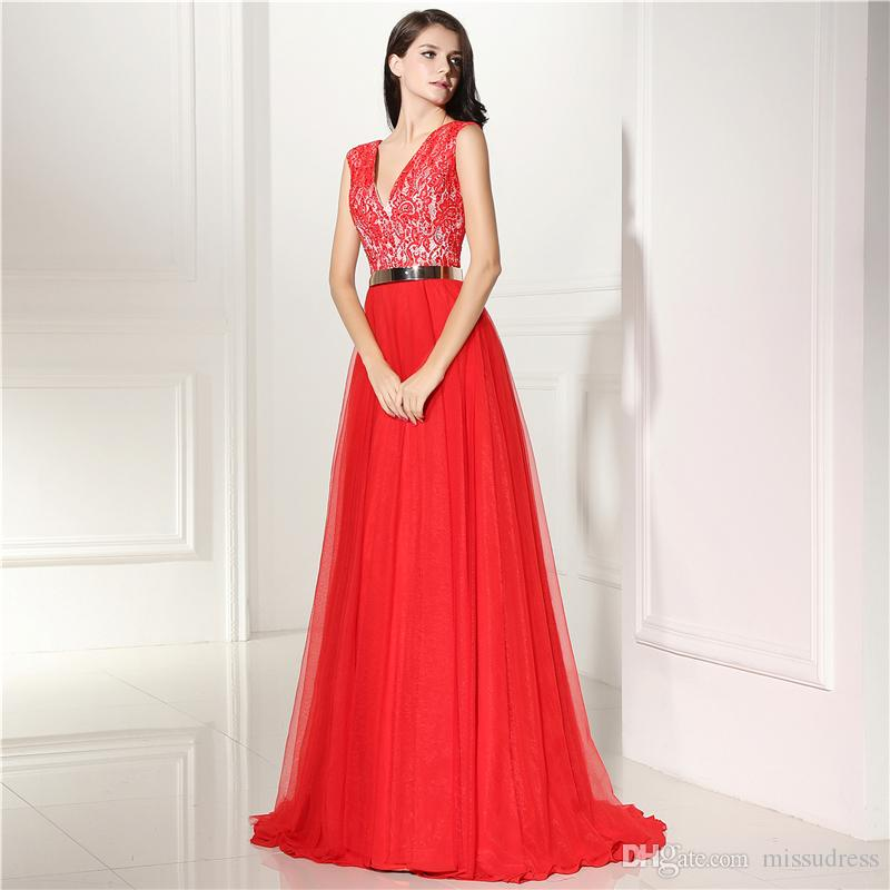 Formal evening dresses for woman long red v neck lace a line evening gown girls prom dresses 2018
