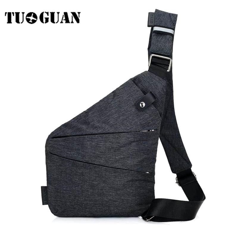 TUGUAN Ocasional Anti Roubo Chest Bag Homens Ocultos Saco Do Mensageiro Ombro Sacos Crossbody Canvas Sling Pack Masculino Bolso Do Telefone de Viagem