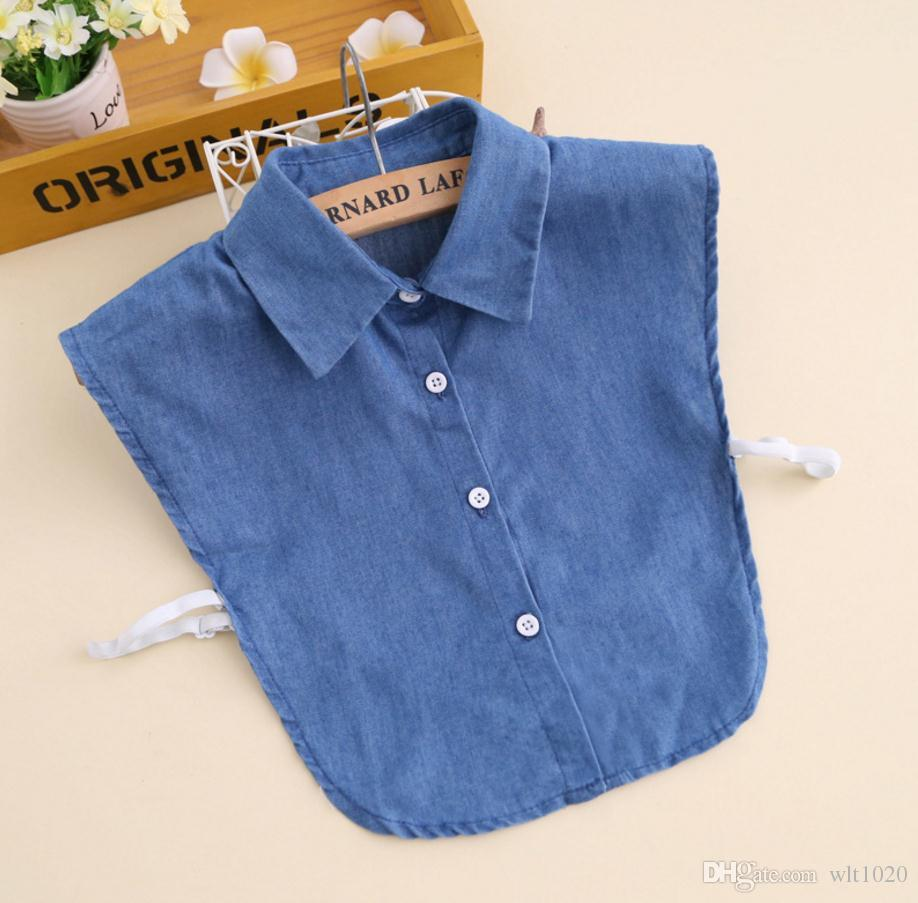 jean detachable collar adult shirt sweater collars all matching blue denim fabric fake collar men women