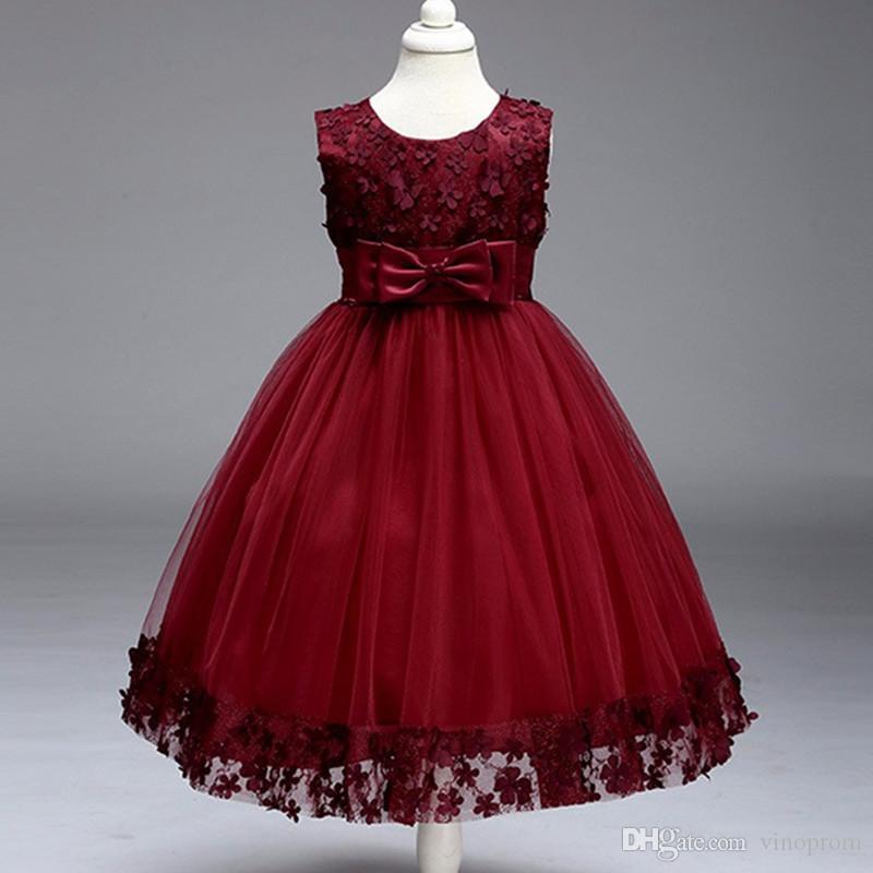 Top vendita bambini ragazza infantile petali di fiori dress bambini damigella d'onore del bambino elegante vestido infantil formale abiti da festa formale vino rosso