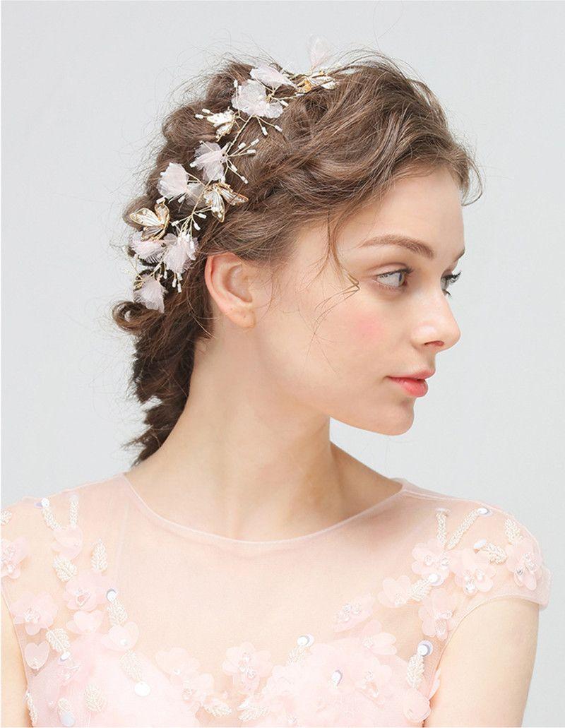 Wedding Hair Band Hairband Flowers Headdress Gold Bridal Headband Pure Handmade Party Wedding Hair Accessories Butterfly Bridal Headpiece