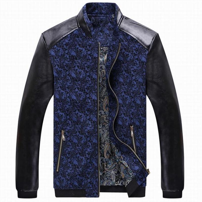 PU 가짜 가죽 패치 워크 남성 자켓 코트 슬림핏 블루 레드 옐로우 봄 겨울 아우터 스탠드 칼라 남성 의류 플러스 사이즈