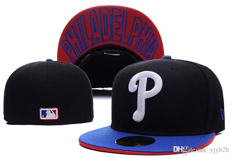Yjyb2b One Piece Men's high quality Phillies Fitted Baseball Hats Black Color Sports Team White Letter P Flat Full Closed Caps Bones
