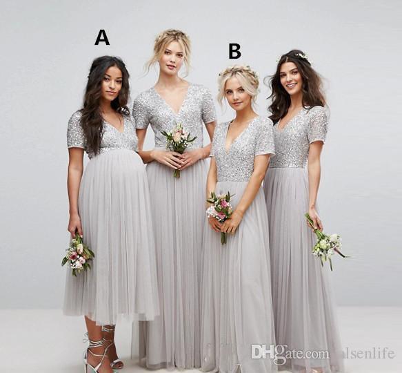 실버 스팽글 브이 넥 컨트리 들러리 드레스 짧은 소매 긴 Tulle 비치 웨딩 게스트 드레스 명예의 출산 복장 공식 드레스