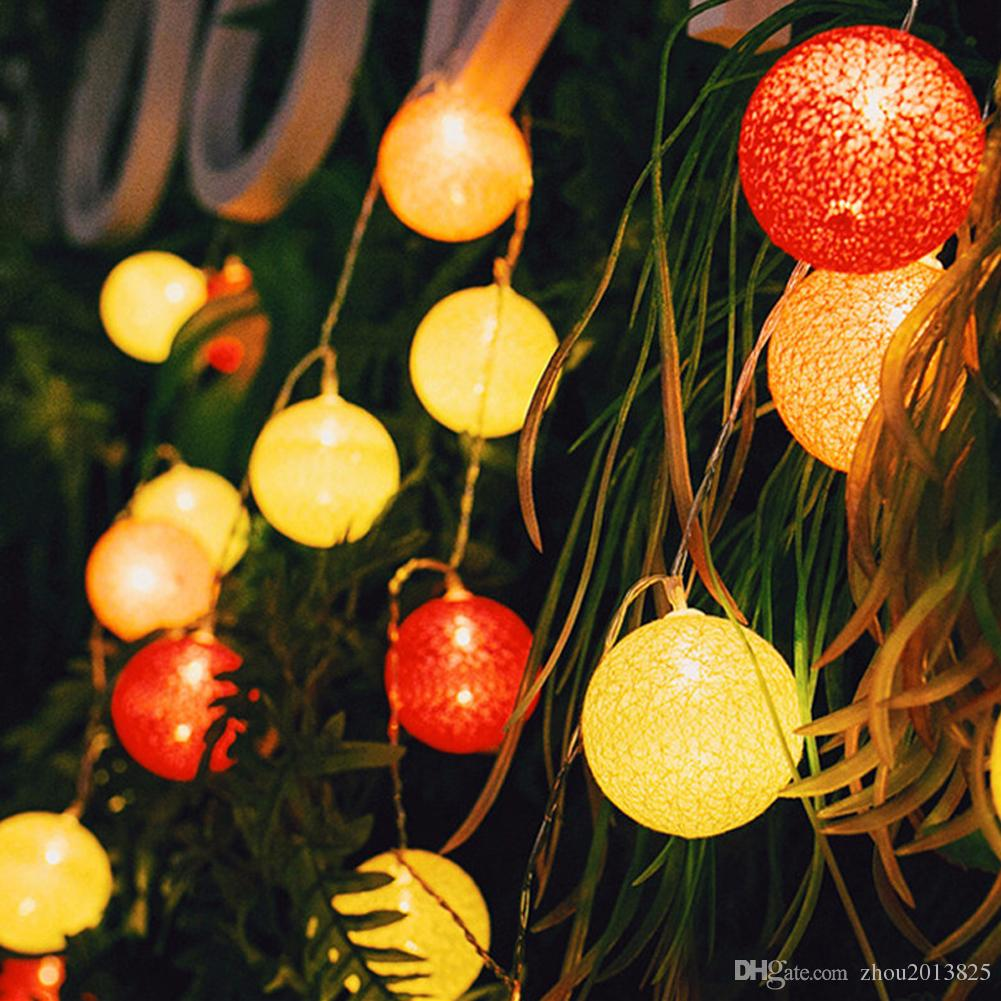 Handmade Cotton Ball String Lights Decoration Decor Wedding Bedroom Garden Spa and Holiday Lighting. (4 colors)