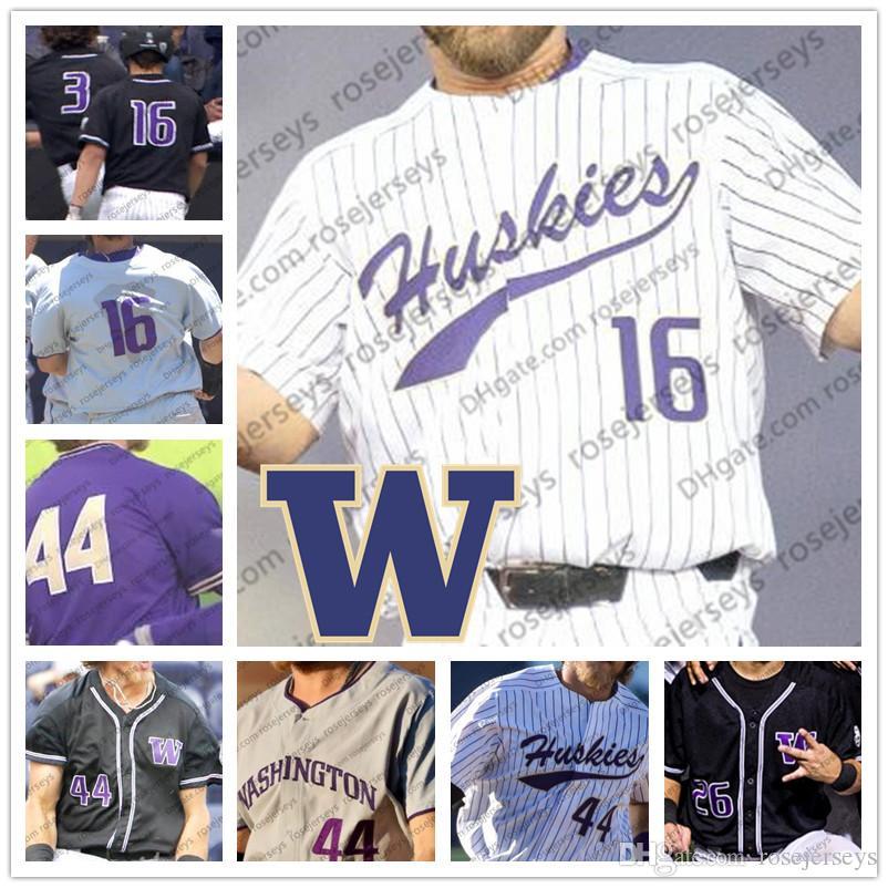 Personalizados Washington Huskies NCAA Baseball Branco Roxo Preto Costurado Qualquer Número Nome # 6 Mason Cerrillo 44 Joe Wainhouse 16 Nick Kahle Jersey