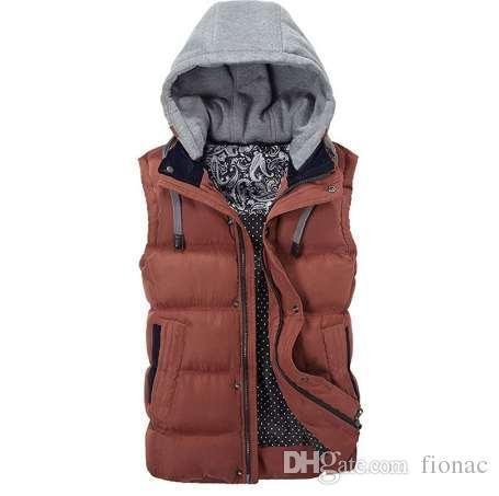 Wysokiej Jakości Mężczyźni Casual Kamizelka Płaszcz Zimowy Kapelusz Odpinany Mężczyźni Kamizelka Bez Rękawów Kurtka Solidna Outwear Kamizelka Mężczyźni 4 Kolory