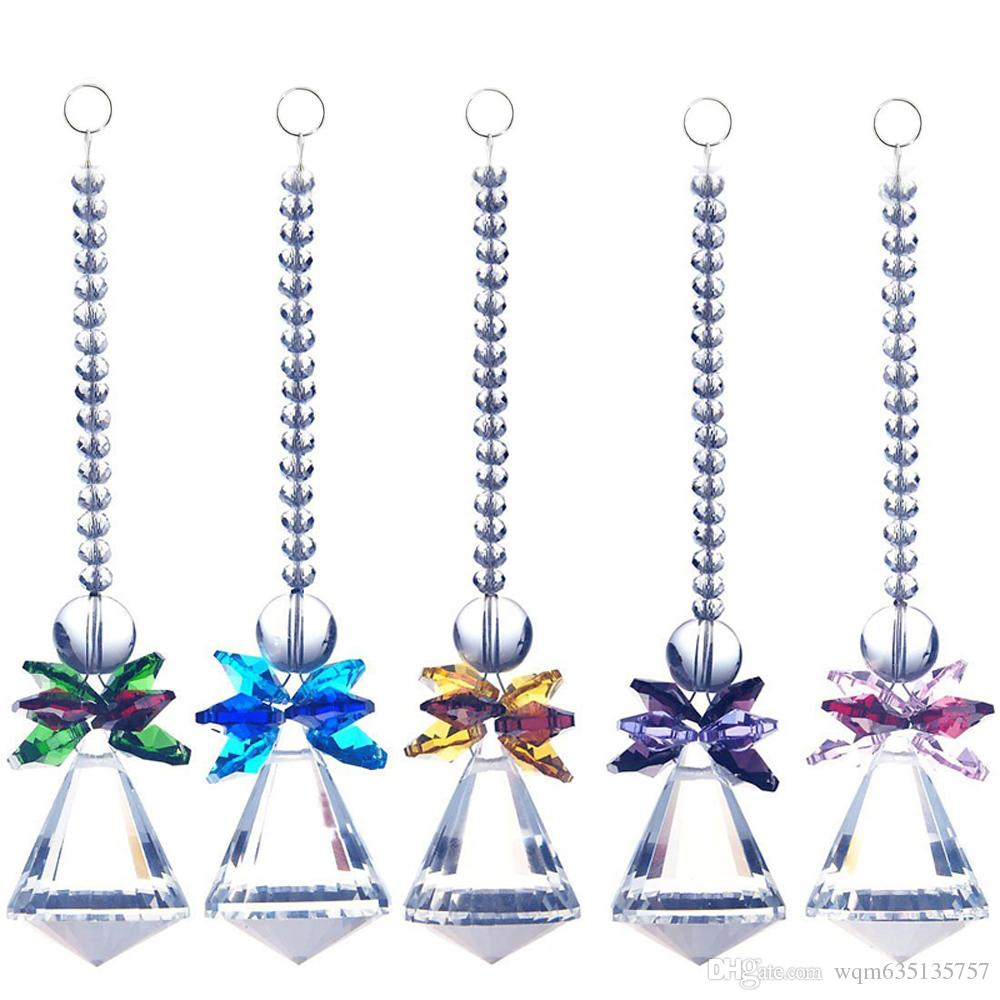 5PCS Lead Crystal Diamond Ball Suncatcher Hanging Feng Shui Angel Prism Rainbow Pendant Window Ornament W020