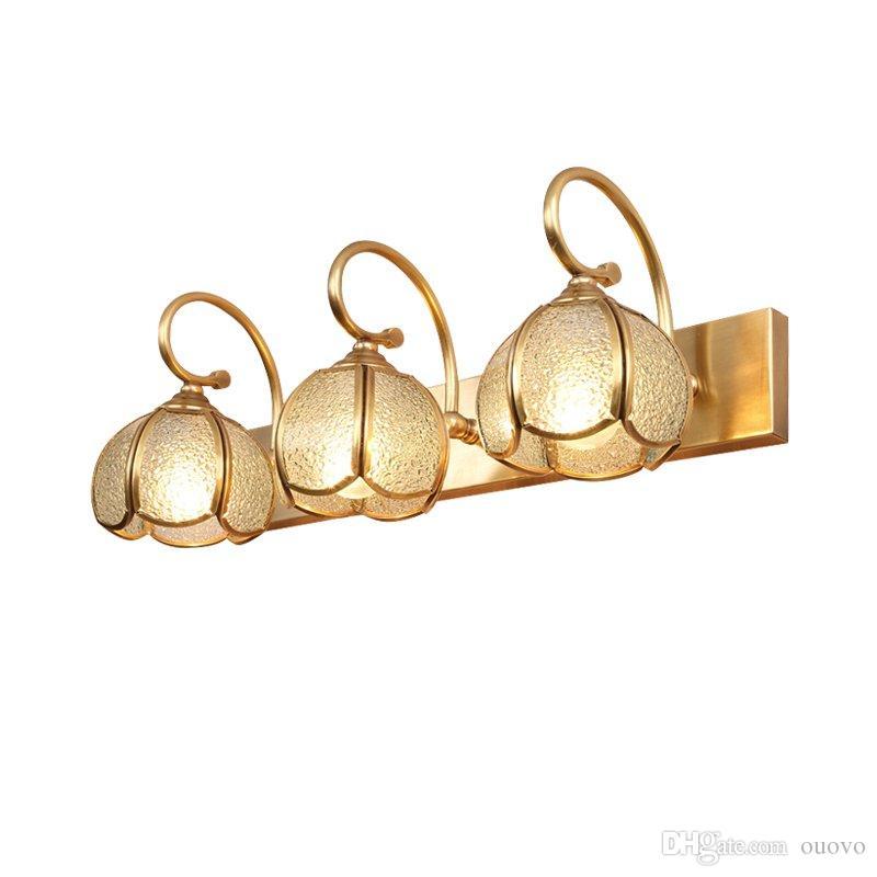 Lámpara de Pared de Baño de Cobre Europeo Espejo Moderno Pantalla de Cristal Sombra de Pared Apliques de Lujo Accesorios de Iluminación de Pared