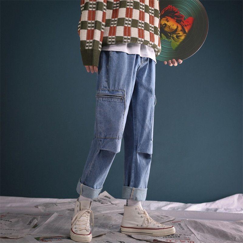 2018 Erkekler Yeni Retro Stil Çalışma Baghee Homme Kargo Pocket Jeans Klasik Siyah / mavi Günlük Pantolon Biker Denim Pantolon Boyut M-2XL