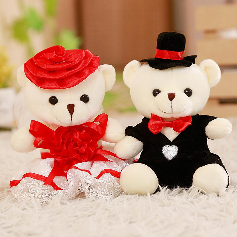 2pcs / lot 15cm coppia orsacchiotto di nozze di alta qualità bouquet di peluche giocattoli regalo di nozze morbido figura bambola giocattolo regalo di natale