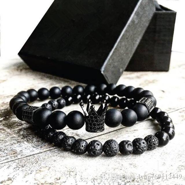2pcs / set Hommes Femme Bracelet De Perles Couronne Charme Bracelet Naturel Perles Bouddha Bracelet pour Femmes et Hommes Pulseras Masculina