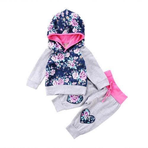 2018 Moda Yenidoğan Bebek Kız Çiçek Kapüşonlu Üstleri Pantolon 2 Adet Kıyafetler Giysi Set Sıcak Yeni