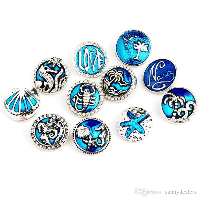 Mixed Ocean Style 18mm Metal Snap Buttons Jewelry Seahorse Starfish Shell Ginger Snap Fit 18mm Snap Jewelry Bracelet Good Quality