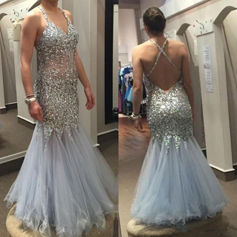 Cristal de luxe sirène Robes de bal 2020 Perles Paillettes formelle Robes de soirée Backless Plage Tulle Robe de soirée sur mesure