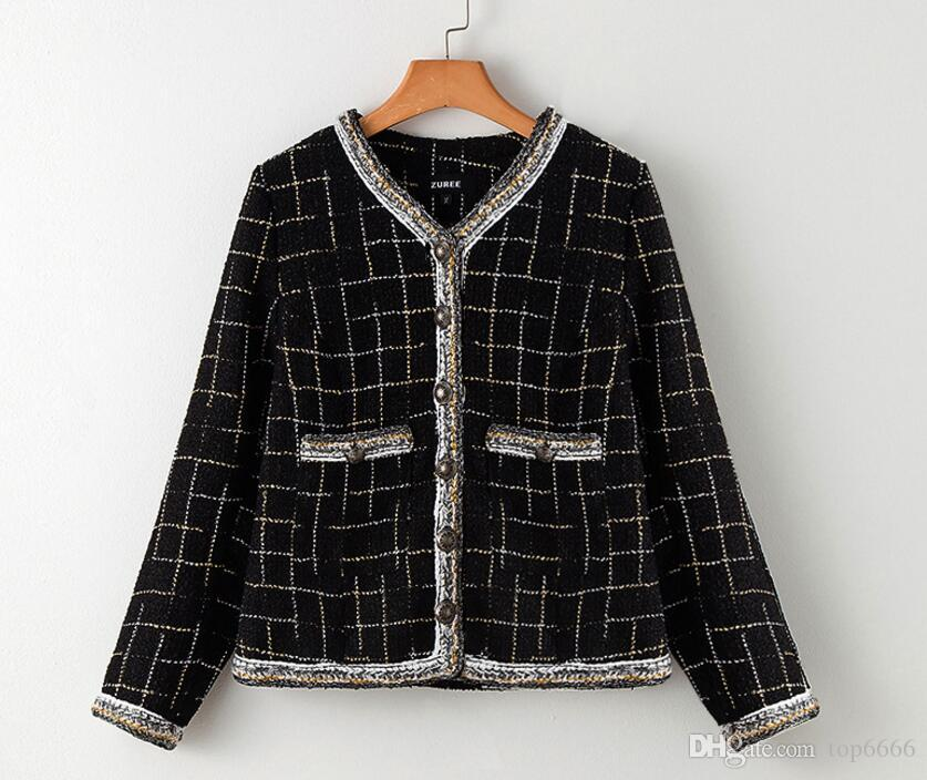 Women winter coat Top Quality Luxury fashion Noble Sexy Ladies OL Star Street shooting Boutique Plaid gold thread woven tweed jacket