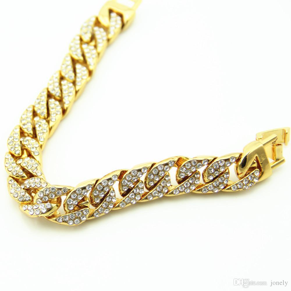 Gold Plated Neutral Bracelet Full Diamond Bracelet Hip Hop Bracelet Fashion Handmade Jewelry Fashion Chain Iced Out Curb Cuban
