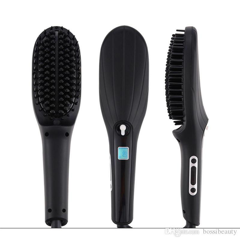 Electric LCD Display Steam Ceramic Hair Straightener Brush Automatic Spray Straight Hair Comb Straightening Tool Beauty