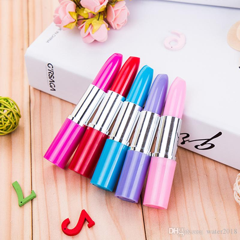 Cute Lipstick Ball Point Pens Kawaii Candy Color Plastic Ball Pen Novelty Item Stationery Free DHL