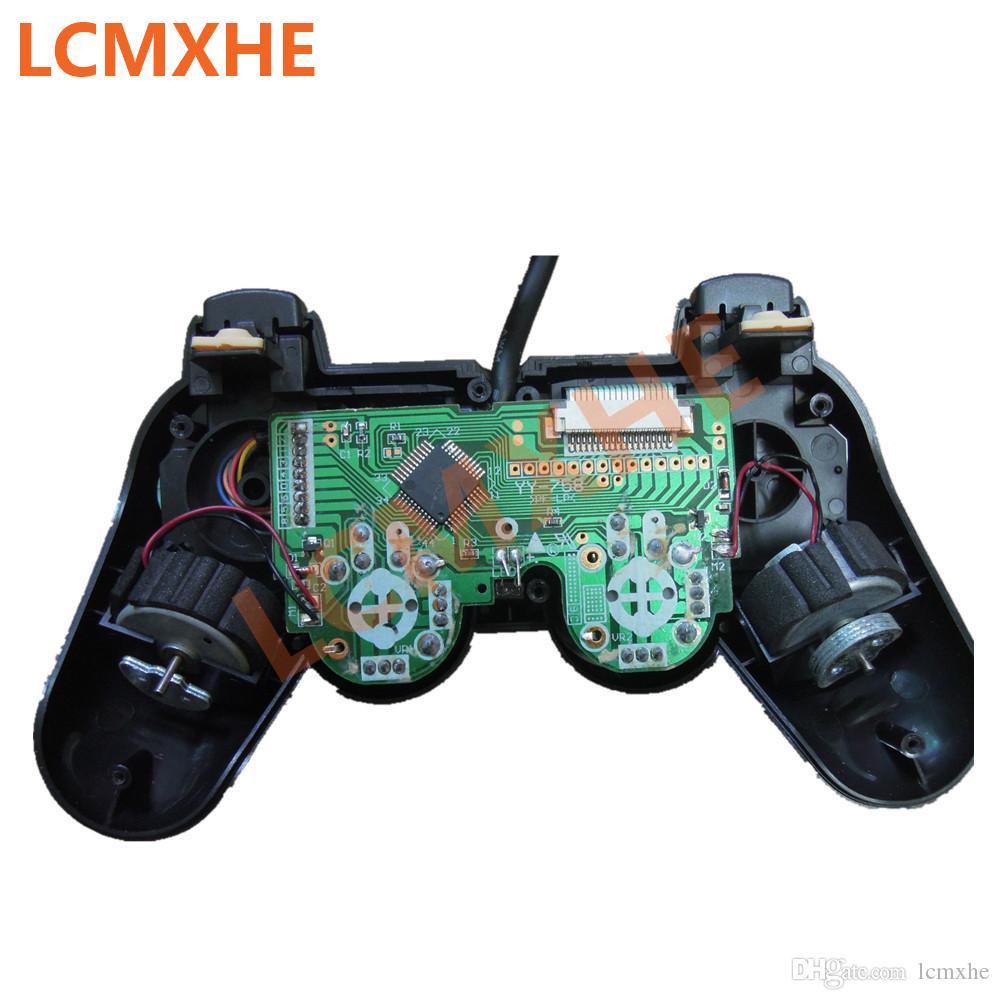 ل ps2 المراقب السلكية مزدوجة الاهتزاز صدمة غمبد لعبة جويستيك joypad ل playstation 2 ألعاب الفيديو وحدة المكونات منفذ الأسود