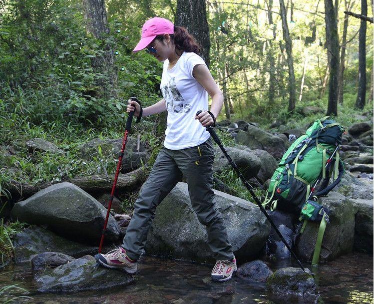 Grid 100pcs Hot Selling Original Hewolf T-handle Hiking Stick Walking Trekking Pole for Climbing Mountaineer 3 Colors to Choose Free Ship