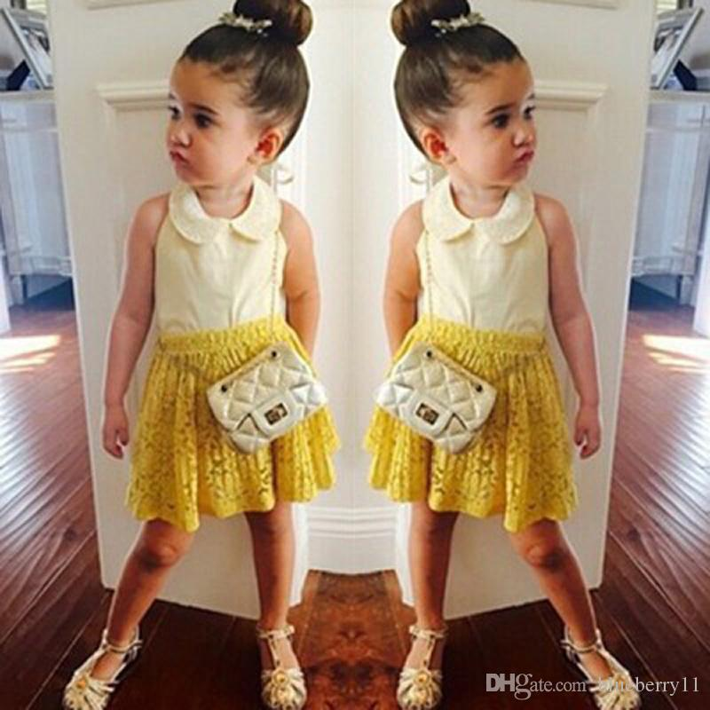 Summer Baby Girl Clothes Sets Boutique Sleeveless White Chiffon Shirts+Yellow Lace Skirts Kids Clothing Set Girls Outfits 2pcs