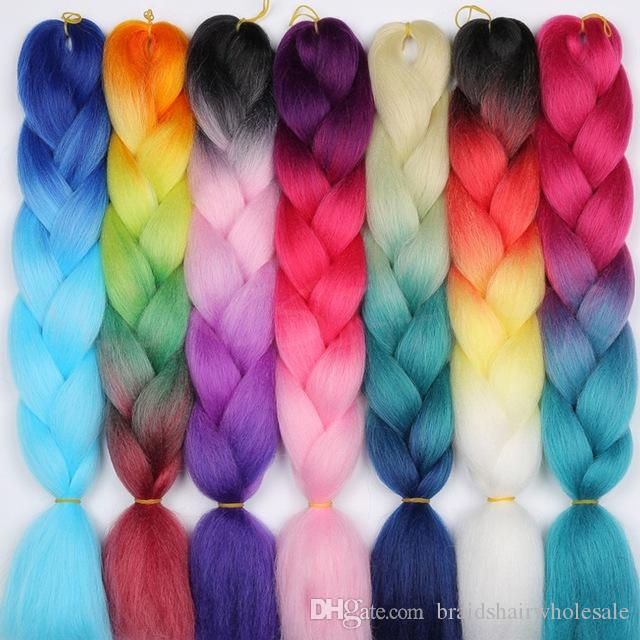 Kanekalon Synthetic braiding hair 24inch 100g Ombre two tone color jumbo braid hair extensions 60colors Optional Cheap Xpression Braiding