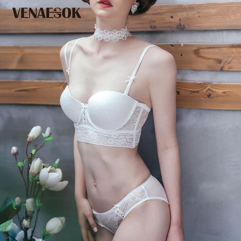 Moda de mujer blanca conjunto de ropa interior sujetador de encaje push-up bordado sexy sujetador profundo V recopilar sujetador bragas conjunto lencería cómoda