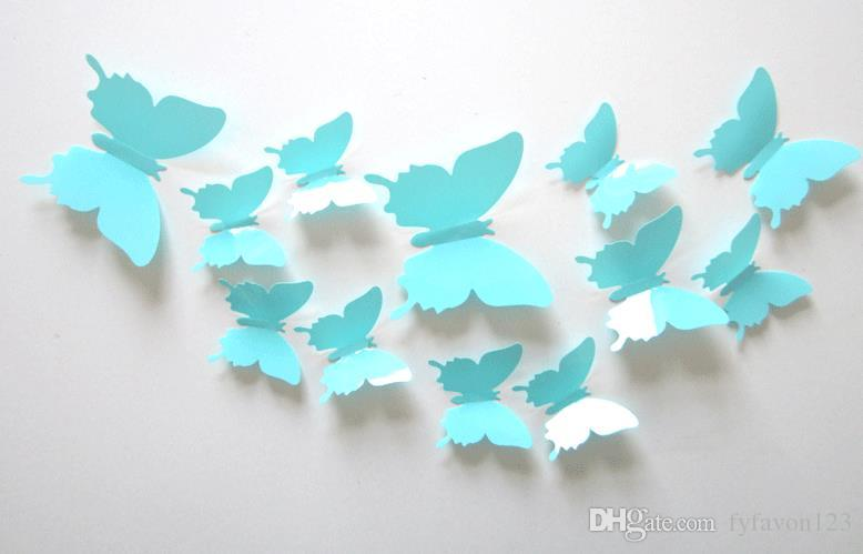 top 120pcs=10sets 3D Butterfly Wall Stickers Butterflies Docors Art / DIY Decorations Paper mixed colors hot sale a146
