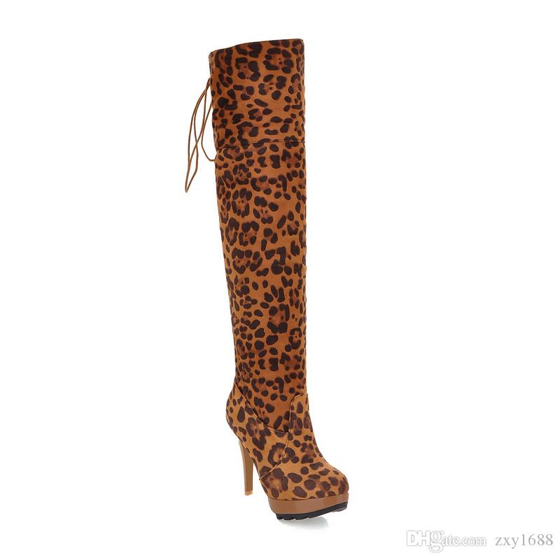 Autumn and winter European and American fashion heels and waterproof tables, leopard lace, knee length boots.AJE111