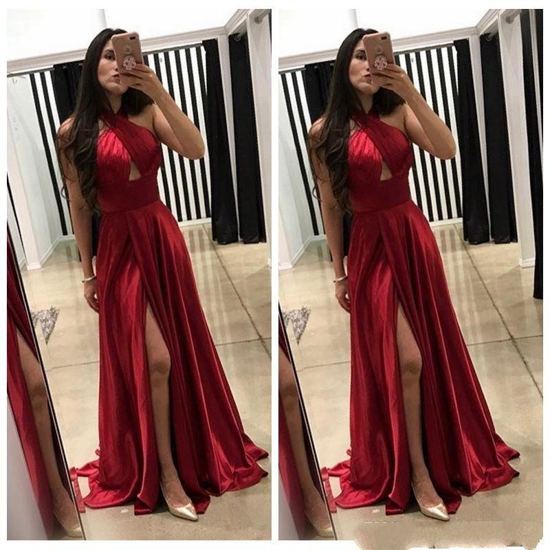 Sexy Halter Dark Red A Line Prom