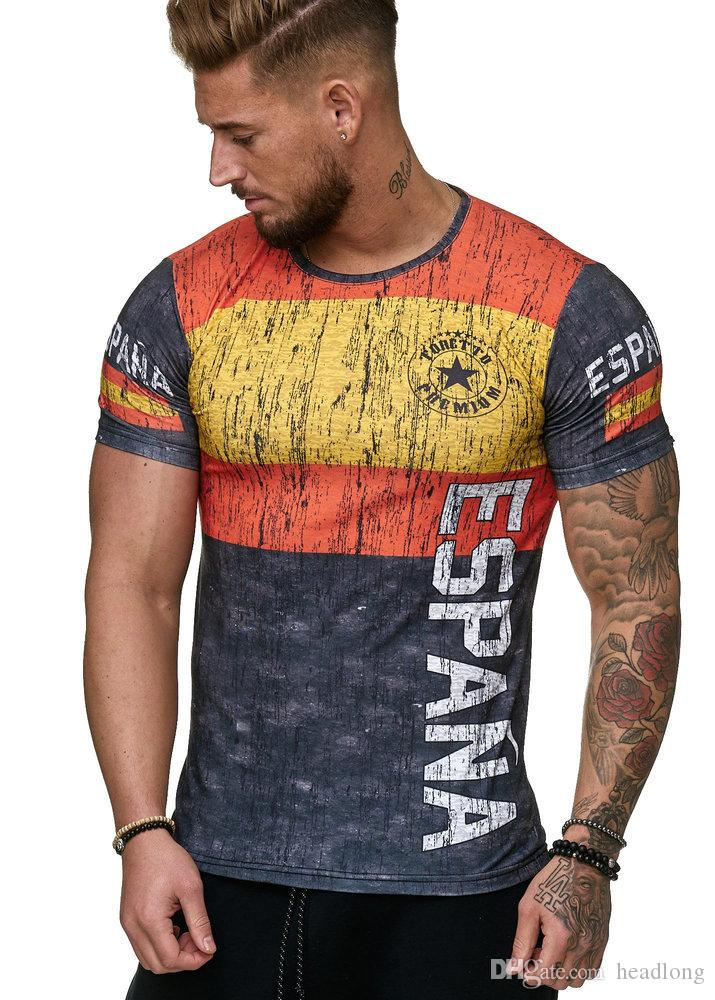 World Cup T Shirt 3D Letter Printed Causual Tee Men Short Sleeve Slim T Shirts Souvenir Male Skin Tight Tee Large Size