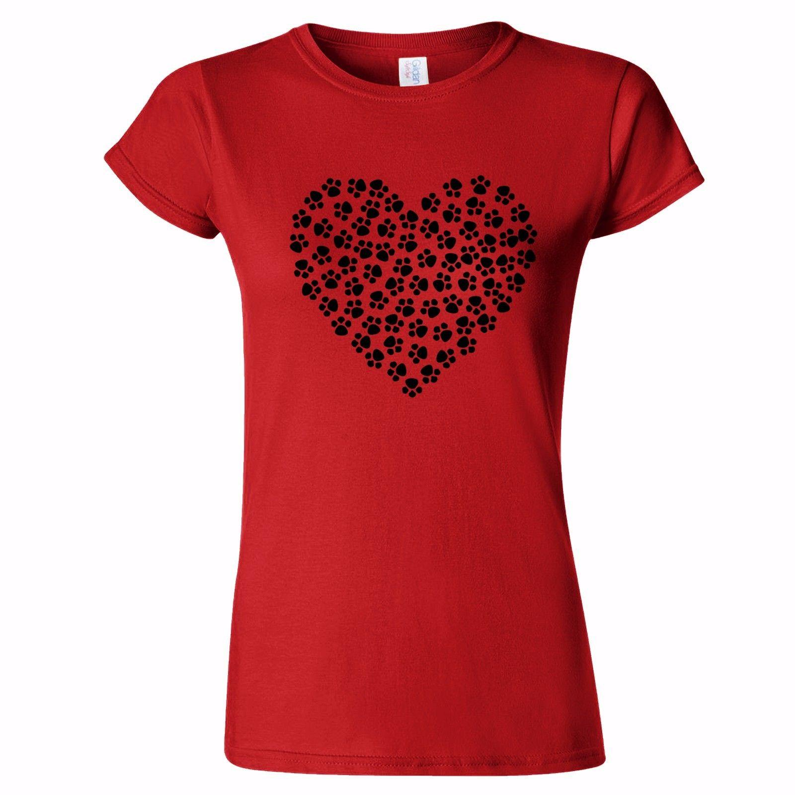 HEART FROM PAW PRINTS ART WOMENS T SHIRT CAT DOG PET ANIMAL LOVER LOVE CATS DOGS
