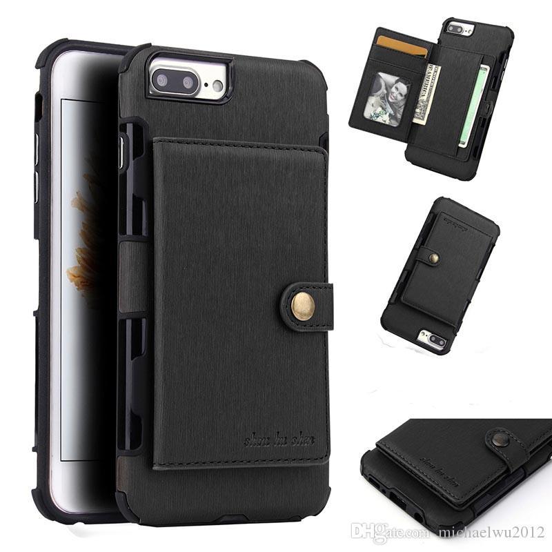 Luksusowe PU Skórzane Przypadki dla Apple Iphone 6 6S 7 Plus Wstrząsy Klapki Karty Gniazdo Karta Stojak Cellphone Cover Shell