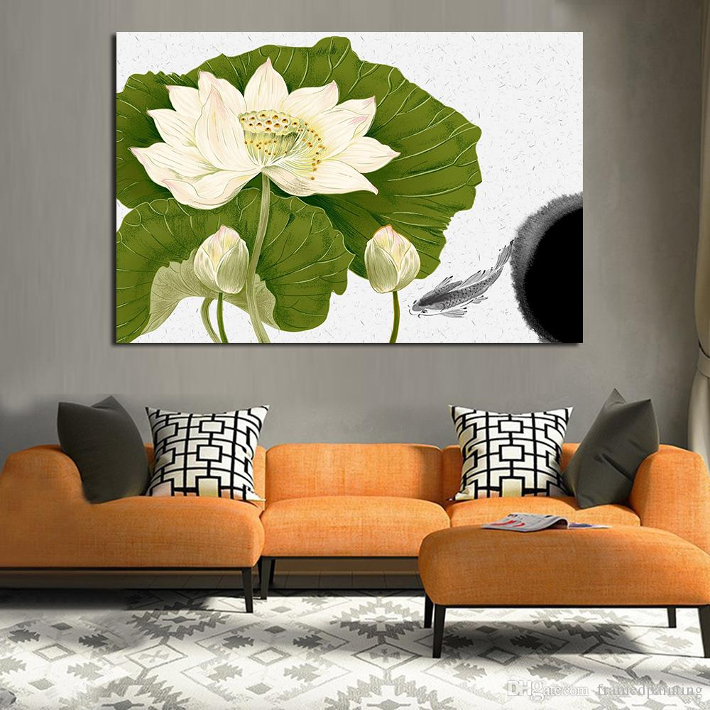 2019 Lotus Leaf Oil Painting Wall Painting Living Room Paintings On Canvas  Modern No Frame Picture From Framedpainting, $24 59 | DHgate Com