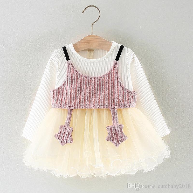 Long Sleeve Five Stars Vest Baby Girls Clothing Lace Princess Dress 2pcs baby tutu dress infant dresses vestido infantil
