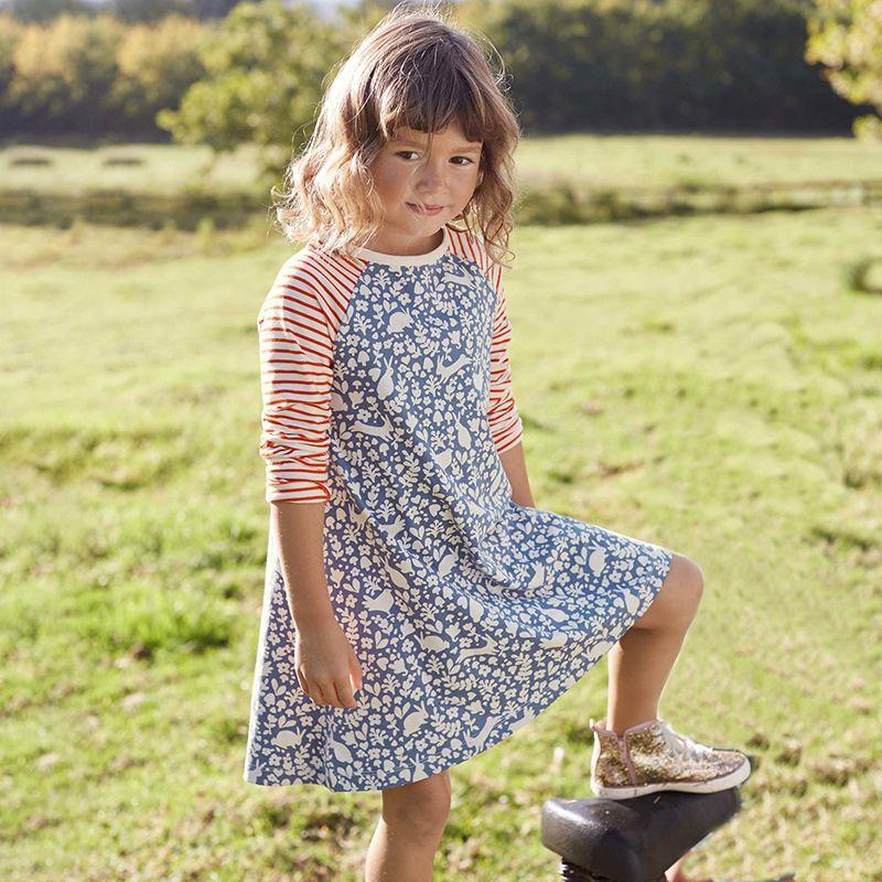 Fashion Kids Girls Long Sleeve Print A-line Short Dress Children Casual Clothes