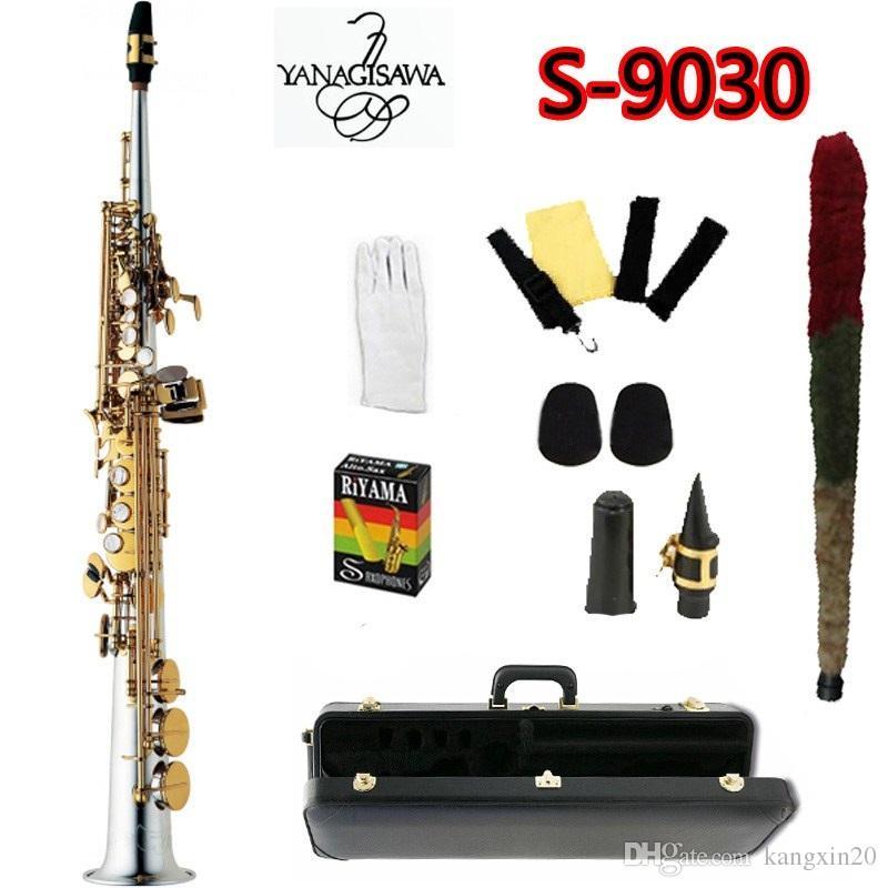TOP YANAGISAWA S-9030 B Tone Soprano Saxophone High quality Nickel Plated silver Sax Gold Key Professional Mouthpiece With Case