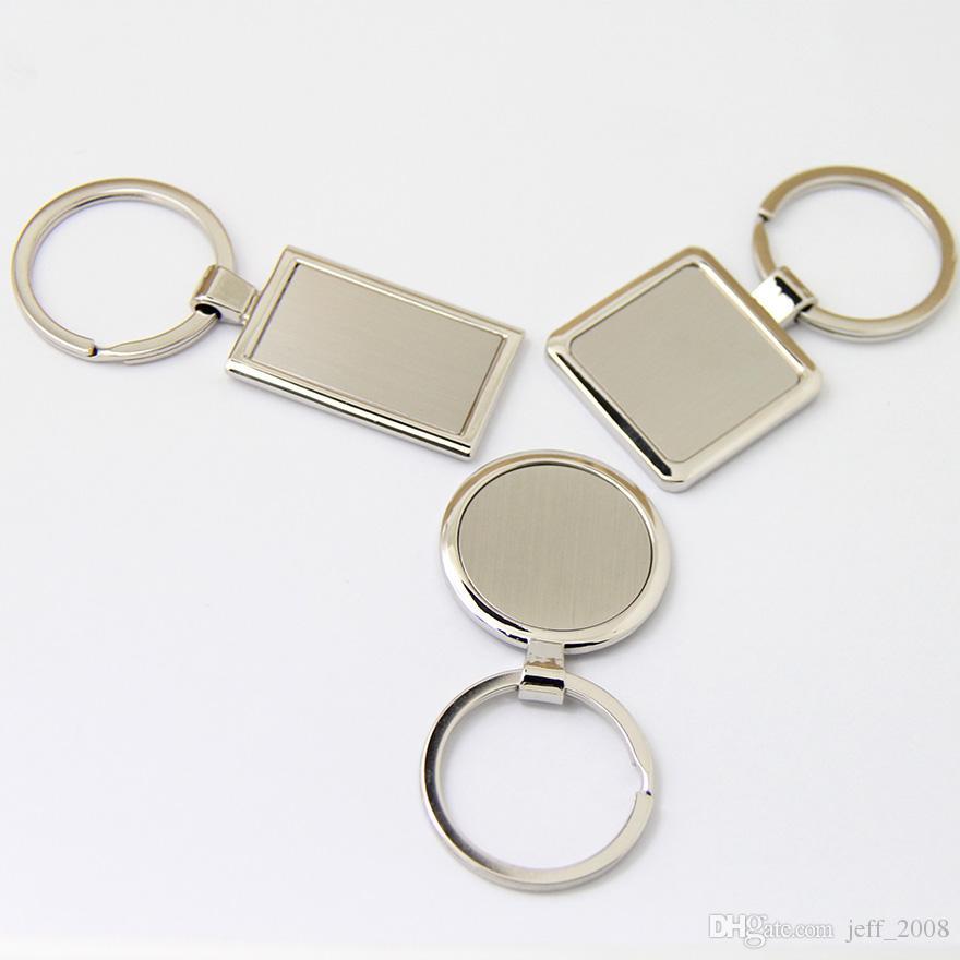 Atacado-10Pcs Blank Metal Chaveiro promoção Key Tags Personalizar Logo Laser Keyrings - frete grátis