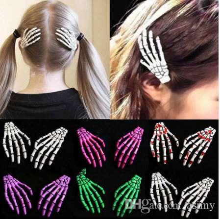 2 PCS / SET New Skull main os Hairpin Gripper fantôme squelette Barrettes Barrettes os Griffe Accessoires cheveux