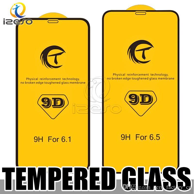 Için iPhone 12 Pro Max 11 Xr x 8 7 Artı 9D Ekran Koruyucu Filmi Tam Tutkal Temperli Cam Perakende Paketi Ile Izeso