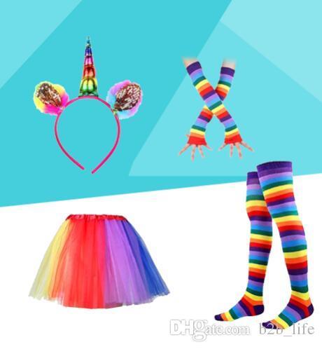le donne colorate arcobaleno Tutu gonna con unicorno Hair Hoop fascia leggings calze guanti Set Dance Party costumi KKA4377