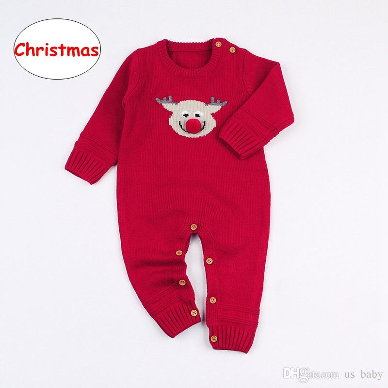 INS Baby Christmas deer print Romper Infant Unisex long sleeve Jumpsuits Children Boy Girl Autumn Winter cloth