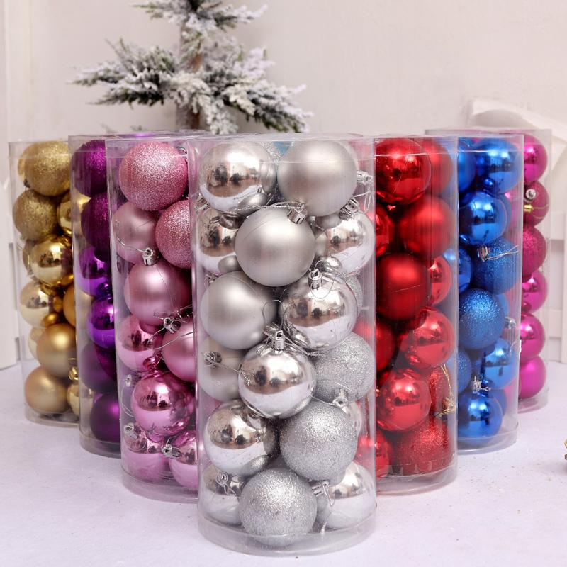 24 Pcs/Set Glitter Chic Christmas Tree Ball Baubles Xmas Party Wedding Hanging Ornament Christmas Decoration for home market Y18102609