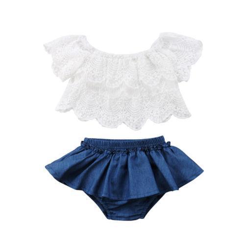 0-3y الوليد الرضع كيد طفلة الصيف لطيف الدانتيل الأبيض القطن الأزهار قصيرة الأكمام قمم الدينيم السراويل السراويل 2PCS ملابس الملابس