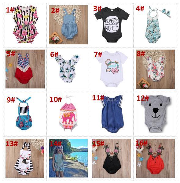 32 stilleri yaz bebek bebek çiçek tulum hayvan onesies çocuklar tulum toddler bodysuit toptan bebek giysileri butik giyim BY0070-1