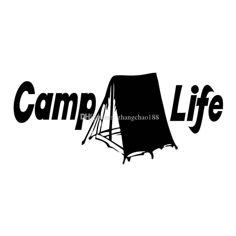 Etiqueta engomada del coche de estilo natural libre vida de campamento calcomanía negro / plata ca-015