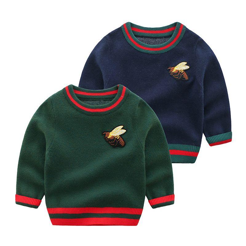 Encantadora abeja de punto suéteres para bebé moda rayas algodón niños sudaderas suéter de los niños de calidad superior para niño niña